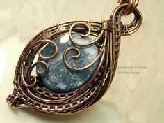 Wire Wrapped Pendant Necklace Electric Blue Kyanite in