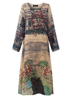 0961bcb9012 Only US$25.88 , shop Gracila Printed Loose Casual Long Sleeve Women Dress at  Banggood.