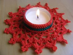 Christmas Crochet Candle Holder PDF Pattern by Crochettthings Diwali Candle Holders, Diwali Candles, Christmas Candle Holders, Diwali Decorations, Christmas Decorations, Diwali Gifts, Crochet Snowflakes, Crochet Accessories, Christmas Projects