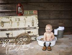 Little cowboy milk bath photo shoot.