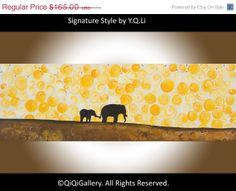 Art on sale 36 Abstract  painting Elephant Art by QiQiGallery, $140.25