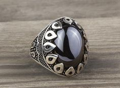 925 K Sterling Silver Man Ring  Black Onyx Gemstone 11,25 US Size #istanbuljewelry #Cluster