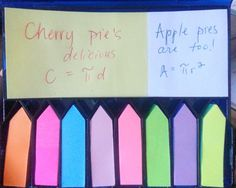 An easy mnemonic to help you remember the formula for circumference and area of a circle! And mmm, delicious pie! Math Teacher, Math Classroom, Teaching Math, Classroom Ideas, Teaching Time, Teacher Stuff, Teaching Ideas, Math Strategies, Math Resources