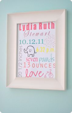 Make a print for the nursery with details of the birth...