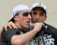 Bruins Patrice Bergeron and Brad Marchand rap. The Boston Bruins celebrate their Stanley Cup victory in a parade through the city of Boston on Saturday, June 18th 2011.