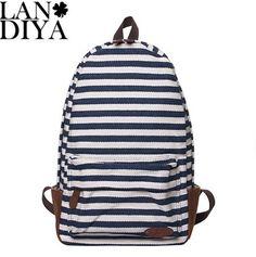 Fashion striped printing canvas school bag 2014 new canvas school bag girls  canvas backpack free shipping 3aa64b305e