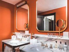 "Luigi Fragola Architects on Instagram: ""Orange is the new... • • • • #interiordesign #interiordesigner #italianinteriordesigner #florenceinteriordesigner #florenceinteriordesign…"" Orange Is The New, Modern Bathroom, Luigi, Florence, Interior Design, Mirror, Architects, Furniture, Instagram"