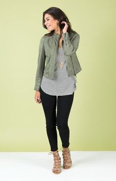 Fashion Look Featuring Nic+Zoe Leather Jackets and Old Navy Petite Tops by - ShopStyle Office Outfits Women, Business Casual Outfits, Mom Outfits, Modest Outfits, Fall Outfits, Cute Outfits, Fashion Outfits, Olive Green Outfit, Green Pants Outfit
