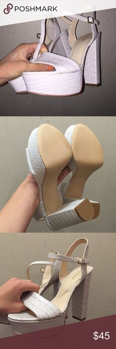 Nine West Heels Nine West Carnation white heels. Size 8. Brand new, never been worn. Nine West Shoes Platforms