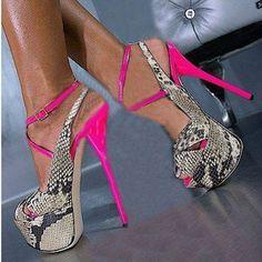 Shoespie Snake-effect Backless Party Platform Heels