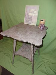 Paloma done in a crackle with Emile dry brushed and stencils added to Victorian Parlor Table