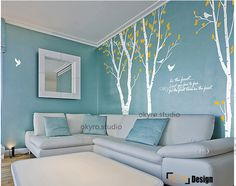 Tree wall decal Birch wall stickers  Forest Wall Decal sitting room dinning room white decal studio work Handmade  100inch