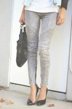 Gray Moto Pants