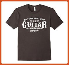 Mens Guitar Shirt All I Care About is my Guitar and Beer T-Shirt XL Asphalt - Food and drink shirts (*Partner-Link)