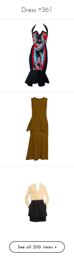"""""""Dress #361"""" by bliznec-anna ❤ liked on Polyvore featuring dresses, gowns, wool dress, peplum sheath dress, brown dress, sheath dresses, brown peplum dress, vestidos, neutral and tata naka"""