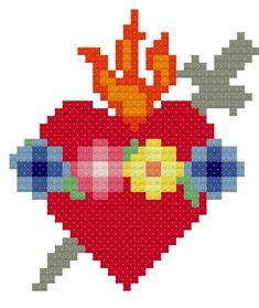 Immaculate Heart of Mary Cross Stitch Pattern // Catholic Cross Stitch Template Cross Stitching, Cross Stitch Embroidery, Pixel Art, Cross Stitch Heart, Cross Heart, Religious Cross Stitch Patterns, Graph Paper Art, Perler Bead Templates, Cross Stitch Kitchen