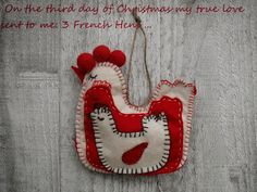 Custom Golf headcovers and puppets : On the third Day of Christmas -3 French hens -ornament