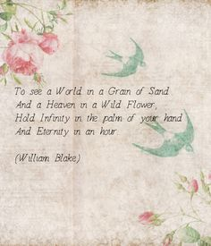 """""""To see the world in a grain of sand and heaven in a wildflower, Hold infinity in the palm of your hand and eternity for an hour"""" - William Blake"""