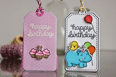 Lawn Fawn - Birthday Tags, Tag You're It, Year Four + coordinating dies, Lemon, Orchid and Sky Lawn Trimmings _ sweet birthday gift tags by Amanda at Little Crafty Pill
