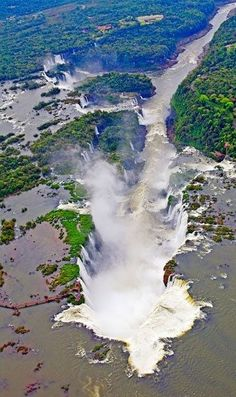 An poster sized print, approx mm) (other products available) - View from helicopter of Iguacu Falls, Iguacu National Park, Brazil, Argetina and Paraguay - Image supplied by Australian Views - poster sized print mm) made in the UK Beautiful Waterfalls, Beautiful Landscapes, Wonderful Places, Beautiful Places, Beau Site, Brazil Travel, Argentina Travel, Aerial View, Amazing Nature