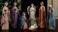 "7 Piece Crackled Nativity Set With Kings Baby Jesus And Madonna 11"" Tall Joseph's Collection"