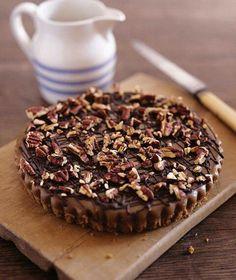 Caramel pecan and chocolate tart