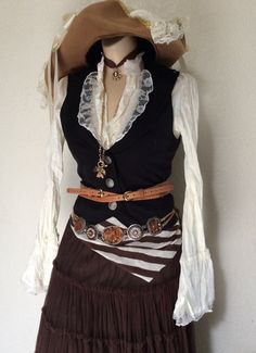 Adult Women's Victorian / Steampunk Pirate Halloween Costume With Belts & Jewelry - Small