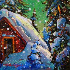 Heavy Snowfall Warning by Stephanie Gauvin SFCA presented by Hambleton Galleries Artist Bio, Artwork Display, Winter Night, Canadian Artists, Art Reproductions, Order Prints, Presents, Art Prints, Canvas