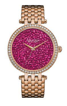 Caravelle New York Damenuhr Wild Berry  inkl. Uhren-Service-Coupon (z.B. Gutschein für einen Batteriewechsel oder das Kürzen eines Uhrenarmbands)