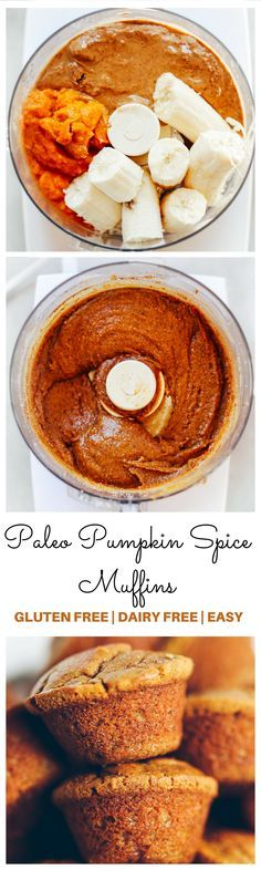 5 Minute, 71 calorie paleo pumpkin spice protein muffins. Flourless pumpkin banana muffins make for easy meal prep- perfect for cozy fall breakfasts or post workout fuel! Naturally sweetened, with added health benefits and protein from collagen peptides. http://healthyquickly.com/easy-healthy-recipes-meals-breakfast-lunch-dinner/
