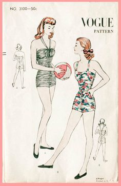 1940s 40s vintage sewing pattern one piece door LadyMarloweStudios