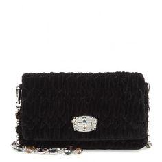 Miu Miu Matelassé Velvet Shoulder Bag ($1,490) ❤ liked on Polyvore featuring bags, handbags, shoulder bags, black, black purse, velvet handbag, miu miu shoulder bag, velvet purse and miu miu