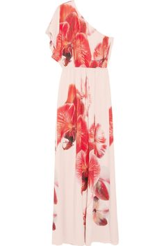Alice + Olivia. printed silk crepe de chine. These are the largest orchids I've seen on a garment--and I am really loving the casual beachy styling.