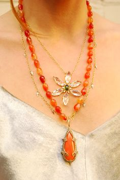 Cathy Watermanvcornaline and coral jewellery