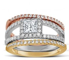 2 CT Princess cut Three Color White Rose,Yellow Gold Over Trio Wedding Ring Set…