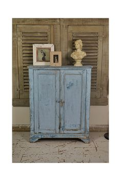 Rustic Blue Shabby Chic French Cupboard in Original Paint - FREE UK DELIVERY