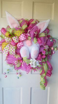 Easter Bunny Wreath Deco Mesh Wreath Bunny by BlackandWhiteCandles