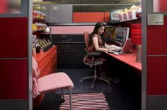 Decorated cubicles in red