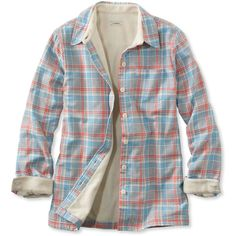 L.L.Bean Fleece-Lined Flannel Shirt (4.060 RUB) ❤ liked on Polyvore featuring tops, tartan plaid flannel shirt, flannel top, fleece lined flannel shirt, cuff shirts and collared shirt
