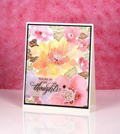 sweet perfume: PB, embossed, brushos, flower sketch,  Heather Telford