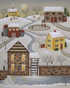 Winter Mill Print By Mary Charles