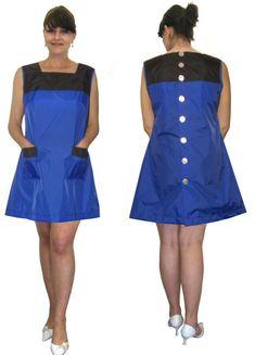 Blouse Nylon Kittel Kleid Schürze hinten geknöpft 46