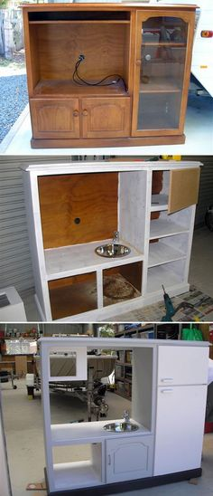 DIY Play kitchen- Oh yes, Brilliant! I can do that! I'm going to start thrift shopping right away!