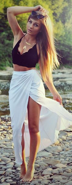 Styleev Black Lace Bralette White Wrap Maxi Skirt #Fashionistas