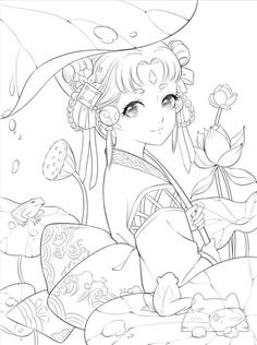 Free Adult Coloring Pages, Cute Coloring Pages, Coloring Books, Cool Art Drawings, Art Sketches, Anime Lineart, Manga Anime, Anime Art, Black And White Drawing