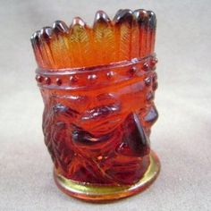 Vintage Joe St. Clair Amberina Indian Glass Toothpick Holder at Carolinabluelady Vintage Collectibles