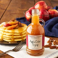 Apple Cider Syrup - Now you can pour on that one-of-a-kind, fresh from the orchard, just-picked apple cider taste any time you crave it. Delectably sweet with a hint of spice, this syrup adds delicious autumn goodness to breakfasts, baked treats and desserts.