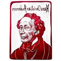 📯Hans Christian Andersen📯 born April 2, 1805 -died August 4, 1875 #hanschristianandersen #linocut #printwork #print #art #illustration #portrait