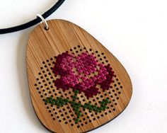 Items similar to Modern Cross Stitch Necklace, Bamboo with Antique Flower Design on Etsy Cross Stitch Books, Modern Cross Stitch, Cross Stitch Flowers, Cross Stitching, Cross Stitch Embroidery, Cross Stitch Patterns, Art Textile, Funky Jewelry, Crafts To Make And Sell