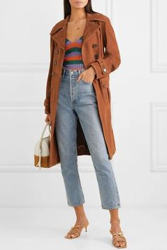 Brown suede Button fastenings through double-breasted front leather; Simple Outfits, Casual Outfits, Cute Outfits, Fashion Outfits, Trendy Fashion, Winter Outfits, Camel Coat Outfit, Denim Outfit, Pantalon Slouchy